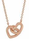 14K Rose Gold 16-Inch Interlocking Heart Necklace