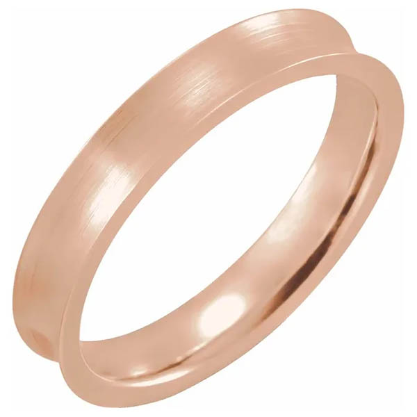 14K Rose Gold Concave Wedding Band Ring (4mm - 7mm)