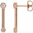 14K Rose Gold Diamond Bar Earrings