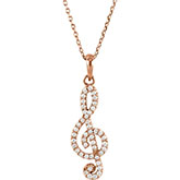 14K Rose Gold Diamond Treble Clef Necklace