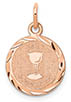 14K Rose Gold Holy Communion Charm Pendant