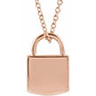 14K Rose Gold Padlock Pendant Necklace