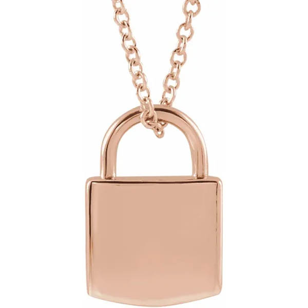 14k Rose Gold Gold Padlock Pendant Necklace