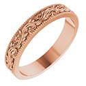 14K Rose Gold Sculptured Paisley Wedding Band Ring