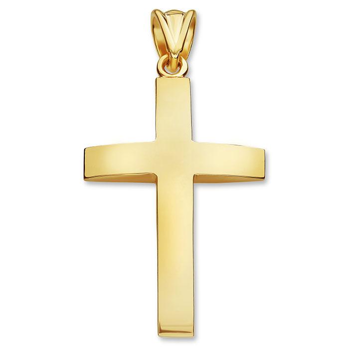 Men's 14K Solid Gold Beveled Plain Cross Pendant