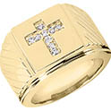 14K Solid Gold Men's Diamond Cross Ring