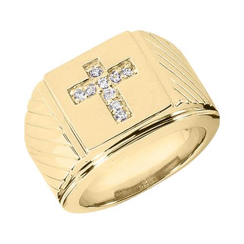 14K Solid Gold Men's Diamond Cross Ring