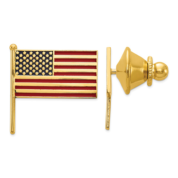 14K Solid Gold Red, White, and Blue American Flag Tie Tac