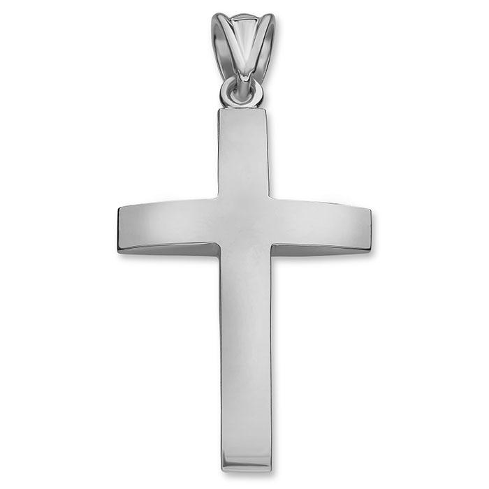Platinum Beveled Polished Cross Pendant for Men