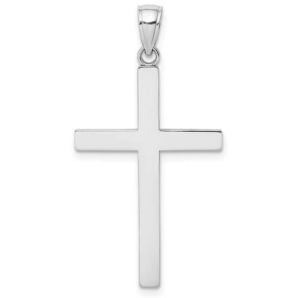14K Solid White Gold Men's Plain Cross Pendant