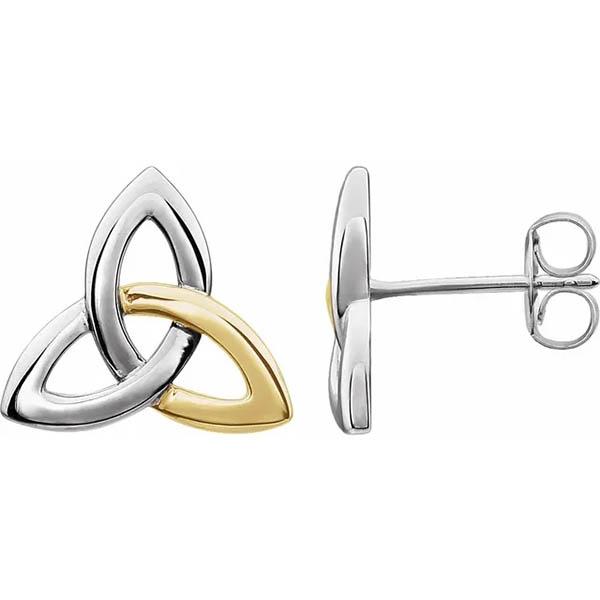 14K Two-Tone Gold Celtic Trinity-Knot Earrings
