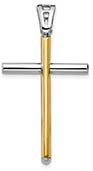 Italian 14K Two-Tone Gold Men's Tube Cross Necklace