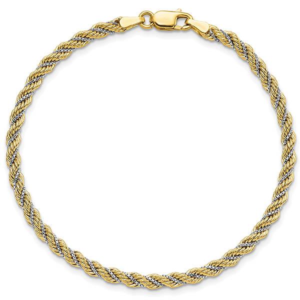 14K Two-Tone Italian Gold 3.25mm Rope Bracelet