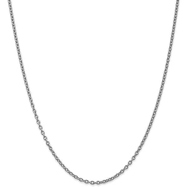 14K White Gold 2.4mm Cable Chain Necklace