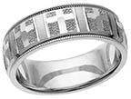 14K White Gold Christian Cross Wedding Band Ring