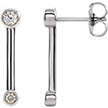 14K White Gold Bezel-Set Diamond Bar Earrings