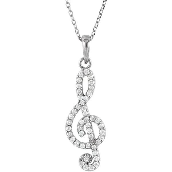 14K White Gold Diamond Treble Clef Necklace