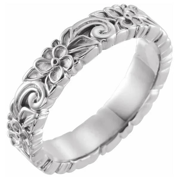 14K White Gold Floral Swirl Wedding Band Ring