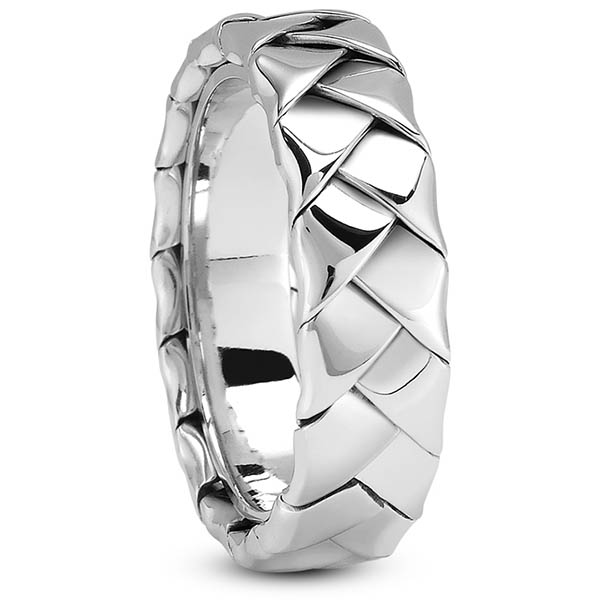 14K White Gold Full Braided Wedding Band Ring