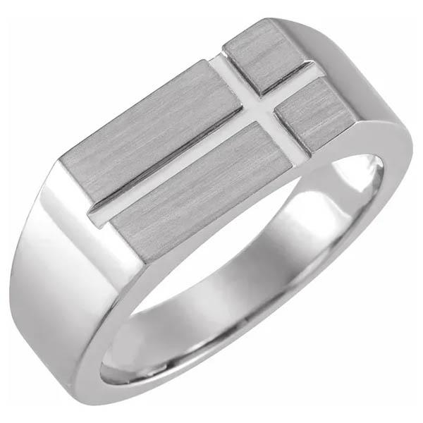 14K White Gold Men's Cross Signet Ring