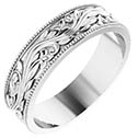 14K White Gold Men's Sculptured Paisley Wedding Band Ring
