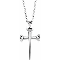 14K White Gold Nails Cross Necklace for Women