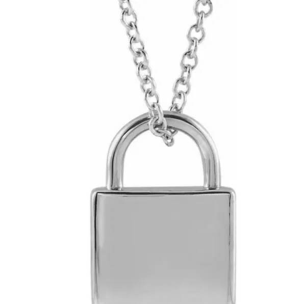 14k White Gold Padlock Engravable Necklace Pendant