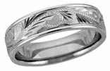 14K White Gold Paisley Designer Wedding Band Ring