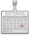 14K White Gold Personalized Calendar Pendant with Birthstone