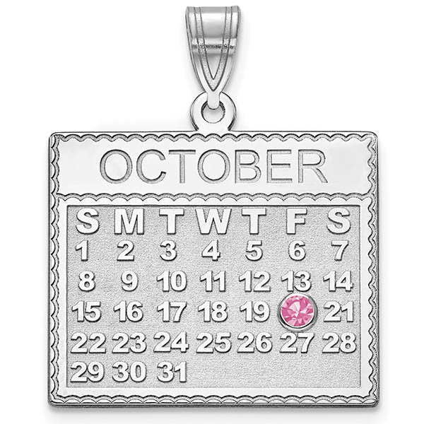 Sterling Silver Personalized Calendar Pendant with Birthstone