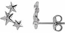14K White Gold Triple Star Earrings