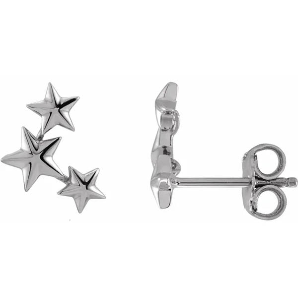 14K White Gold Triple Star Earrings