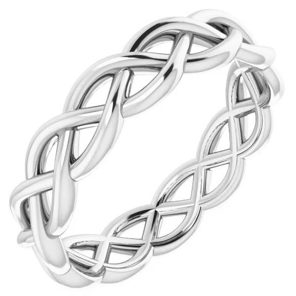 14K White Gold Women's Woven Wedding Band Ring