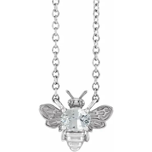 Diamond Bee Necklace in 14K White Gold