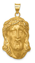 14K Yellow Gold Satin Face of Jesus Pendant