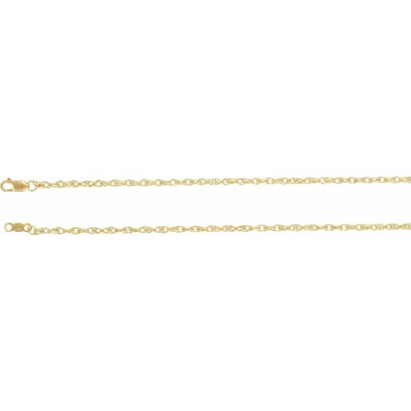 18K Gold Open Rope Chain Necklace (2mm)