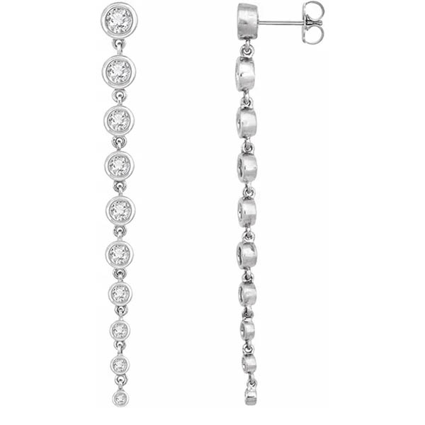 2 Carat Lab-Grown Diamond Drop Earrings, 14K White Gold