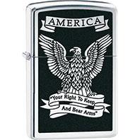 2nd Amendment Zippo Lighter with Eagle, Black Chrome