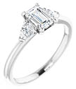 3/4 Carat Emerald-Cut and Pear Diamond Engagement Ring