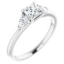 3/4 Carat Princess-Cut and Pear Diamond Engagement Ring