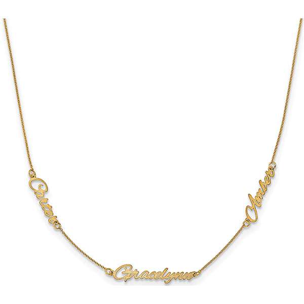 3 Name Personalized Necklace, 14K Gold