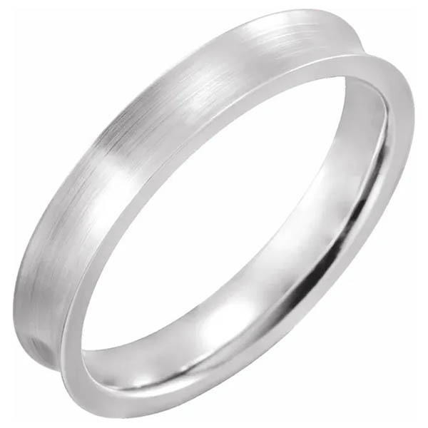 14K White Gold Concave Satin Wedding Band Ring (4mm - 7mm)