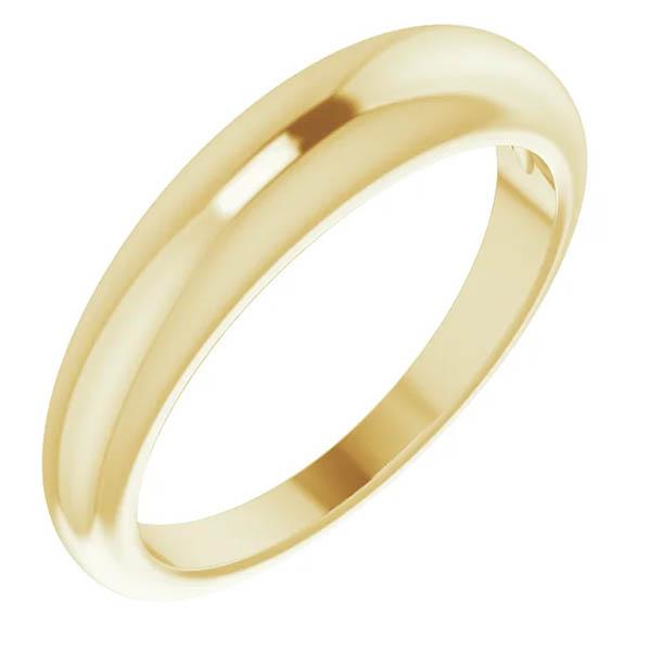 4mm Tapered Plain Band Ring for Women, 14K Gold