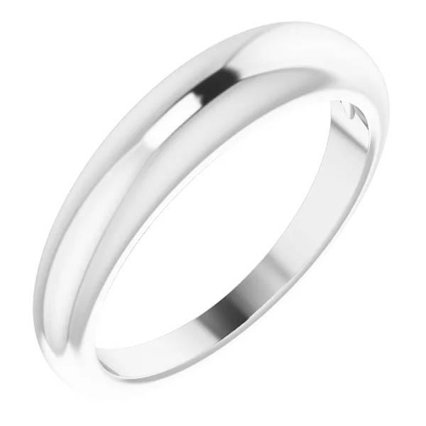 14K White Gold Plain Tapered Band Women's Ring