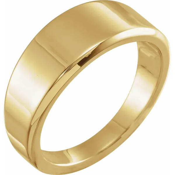 8mm Wide Tapered Plain Band Ring for Women, 14K Gold