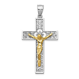Floral Crucifix Pendant for Men in 14K Two-Tone Gold