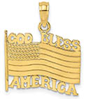 God Bless America Flag Pendant in 14K Gold