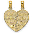 God Keep Watch Between Me and Thee Heart Pendant, 14K Gold