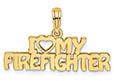 I Love (Heart) My Firefighter Pendant, 14K Gold
