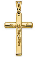 Italian 14K Gold Crucifix Pendant for Men